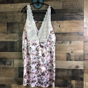Cacique Floral & Lace Silky Nightie Dress
